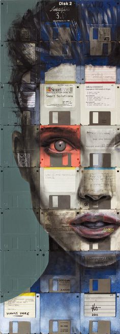 Floppy Disk Paintings By Nick Gentry  портрет, не мое, дискета