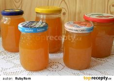 Pomerančová marmeláda s grepem a rumem Hot Sauce Bottles, Preserves, Pickles, Rum, Grapefruit, Mason Jars, Food And Drink, Anna, Drinks