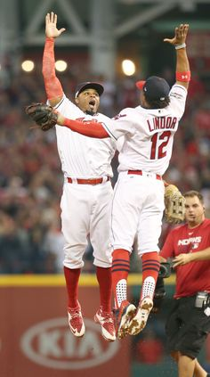 Cleveland Indians Rajai Davis and Francisco Lindor celebrate the Indians win over the Boston Red Sox 5-4 in the first ALDS game, on Oct. 6, 2016 at Progressive Field.  (Chuck Crow/The Plain Dealer)