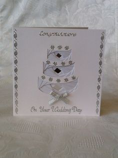 Handmade Iris Folding Card Wedding Cake