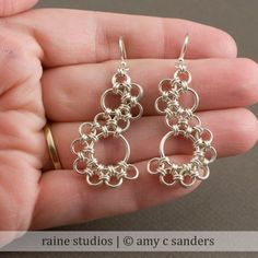 Shenandoah chainmaille earrings based on the stepping stone weave by by rainestudios