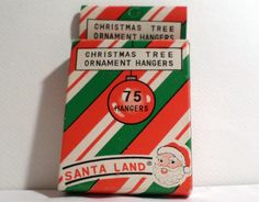 Vintage Christmas, Santa land, tree, Santa, Santa Claus, Tinsel, Christmas Ornament, Ornament Hanger box, Ornament Hanger, Vintage Christmas by DeliciasCastle on Etsy