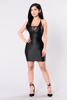 Available in Black Leather Scale Like Detail Mini Dress Lace Accent Deep V Front and Back 95% Polyester 5% Spandex