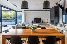 Living-Dining, Castlecrag by McNally Architects Concrete Bench, Open Plan Living, Dining Area, Bespoke, Architects, Charcoal, Conference Room, Table, Furniture