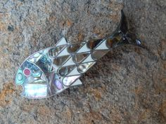 Antique 70's Mother of Pearl Coral Abalone Fish by WildHareVintage