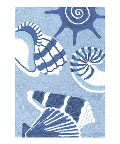 Another great find on #zulily! Light Blue Conch Hooked Rug by C & F #zulilyfinds