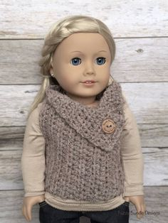 CROCHET PATTERN 18 inch Doll Almond Button Vest by FuzzyBundle