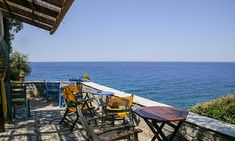 Coffee shop with view to Aegean sea at Milopotamos beach on July 2016 in Pelion,Greece. On the Aegean side of East Pelion is the Milopotamos beach which attracts thousands of visitors every year during the summer months. Destinations, Outdoor Sofa, Outdoor Decor, City Break, During The Summer, The Guardian, Sun Lounger, Seaside, Greece