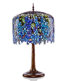 Blue Stained Glass Grand Wisteria Table Lamp