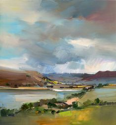 David Atkins: View Across Semerwater, North Yorkshire Campden Gallery, fine art, Chipping Campden Abstract Landscape Painting, Landscape Art, Landscape Paintings, Art Paintings, Painting Art, Indian Paintings, Abstract Oil, Abstract Paintings, Watercolor Painting
