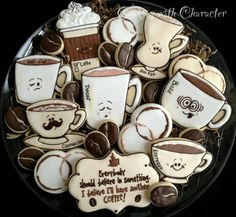 The Cutest Coffee themed Cookies I have ever seen.- by Cookies With Character. Coffee Cookies, Iced Cookies, Royal Icing Cookies, Cookies Et Biscuits, Sugar Cookies, Fancy Cookies, Cute Cookies, Cupcake Cookies, Cookies Decorados