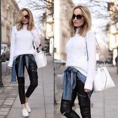 Silvia P. - Zara Knit, Laura Maxim Bucket Bag - poder Branco