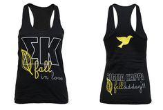 I would love these bid day shirts in black with neon lettering with a panda instead of a dove for AOII :) so cute/clever