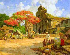 Fernando Cueto Amorsolo (Filipino, Market place before a church Filipino Art, Filipino Culture, Trinidad, Noli Me Tangere, Philippine Art, New Artists, Unique Art, Painting Inspiration, Art Pictures