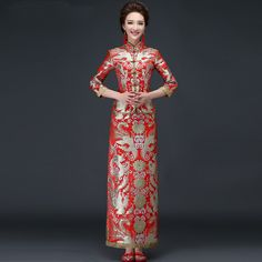 Find More Cheongsams Information about 2016 Fashion Red Chinese Wedding Qipao Long Cheongsam Dress Robe Chinoise Oriental Style Dresses Qi Pao Free Shipping,High Quality dresse,China dress shops in new york Suppliers, Cheap dress 4 from Chinese style online stores on Aliexpress.com