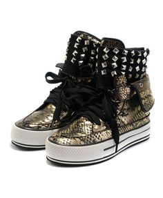 Gold High Top Platform Shoes with Rivets Detail