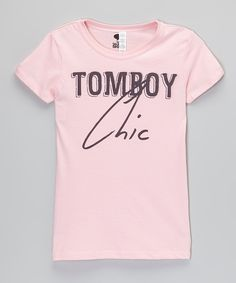 Look at this The Talking Shirt Light Pink 'Tomboy Chic' Tee - Girls on #zulily today!