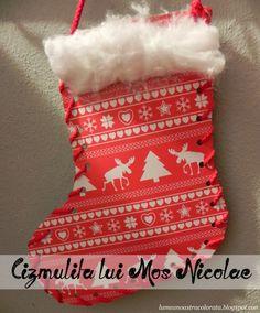 Cizmulita lui Mos Nicolae - Christmas Stocking Paper Kids Craft