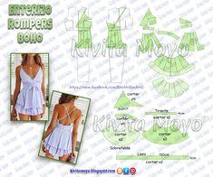 KiVita MoYo : ENTERIZO ROMPERS BOHO Dress Making Patterns, Easy Sewing Patterns, Doll Clothes Patterns, Sewing Clothes, Clothing Patterns, Diy Clothes, Fashion Sewing, Diy Fashion, Remake Clothes