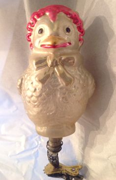 Chick wearing bonnet, antique clip-on Christmas ornament, blown glass, Germany