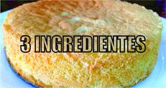 Pão de Ló sem fermento, com apenas 3 ingredientes! Essa receita é muito fácil. Basta bater bem os ovos com o açúcar, depois incorporar a farinha e levar ao