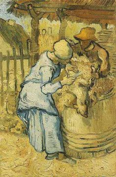Vincent van Gogh: The Paintings (Sheep-Shearers--after Millet). oil on canvas. 43.5 x 29.5 cm. Saint-Remy, 1889.