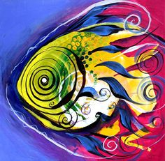 Color fish by J. Vincent Scarpace made using oil paint, date of creation N/A, in J. vincents holding, good blending