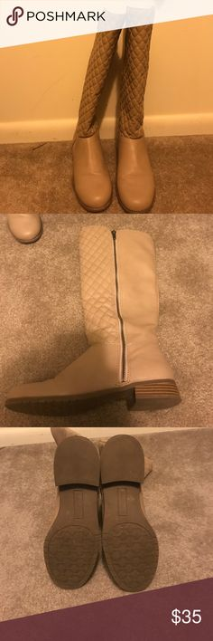 Cream colored mid calf boots Checkered stitching on the front of the boot. Only worn once slight heel Charming Charlie Shoes Heeled Boots