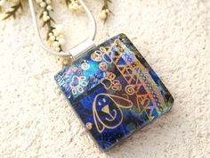 Puppy Love  Dichroic Glass Necklace  Pendant  by ccvalenzo on Etsy