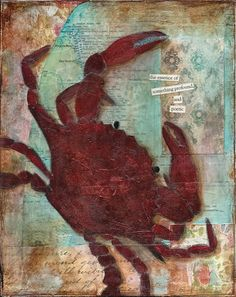 Beach Collection- Crab acrylic mixed-media painting PRINT