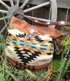 Double J Originals Handbag |Terra Cotta Nubuck Leather using Pendelton Wool and Vintage Findings