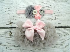 Hey, I found this really awesome Etsy listing at https://www.etsy.com/listing/267788637/grey-pink-bow-ruffle-bloomers-and