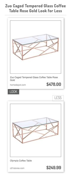 Zuo Caged Tempered Glass Coffee Table Rose Gold vs Olympia Coffee Table