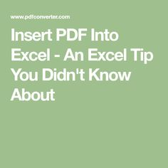 Insert PDF Into Excel - An Excel Tip You Didn't Know About