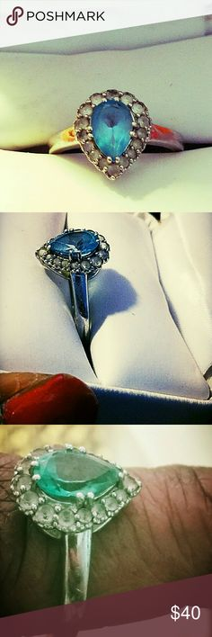 Blue topaz ring Pear shaped, blue topaz, Beautiful ring, NWOT, Jewelry Rings