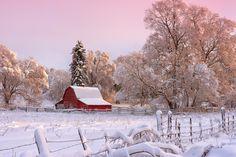 ***Snowy farm fields with red barn (Spokane, Washington) by Beve Brown-Clark on 500px