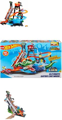 Hot Wheels Ultimate Gator Car Wash Play Set for sale online Festa Hot Wheels, Hot Wheels Cars, Minecraft Hot Wheels, Pull Behind Motorcycle Trailer, Loft Playroom, Swing Sets For Kids, Disney Cars Toys, Kids Indoor Playground, Nerf Toys