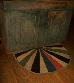 primitive hooked rug, unknown maker. Good use for scrap pieces of wool?