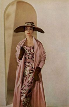 Dior 1953 Pink Silk Ensemble - tight dress, loose coat, big hat !