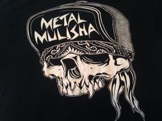 Metal Mulisha #Skull With Bandana and Cap T Shirt Tee Black White Gently Used L #MetalMulisha #GraphicTee