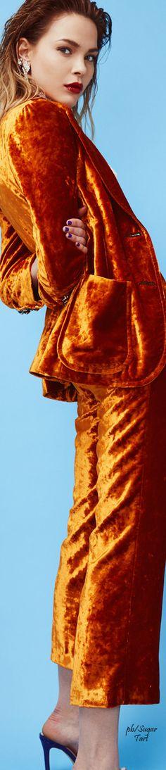 Crushed Velvet Trouser Suit in Orange by Maison Bohemique ....