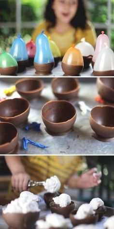 Ways to Make an Amazing Ice Cream Sundae} Idea: homemade chocolate cups for your sundae (Chocolate Cookie Recipes Crunchy) Köstliche Desserts, Delicious Desserts, Dessert Recipes, Yummy Food, Dessert Cups, French Desserts, Plated Desserts, Chocolate Bowls, Chocolate Shells