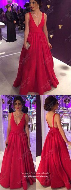 Long Prom Dresses,Elegant Red Prom Dresses,Ball Gown Prom Dresses For Teens, 2018 Prom Dresses V-neck,Sexy Prom Dresses Satin Junior Prom Dresses, V Neck Prom Dresses, Prom Dresses For Teens, Prom Dresses 2018, Formal Evening Dresses, Nice Dresses, Dress Prom, Dress Formal, Party Dress