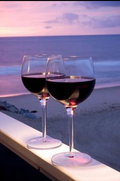 Red wine...sunset...beach...perfect!