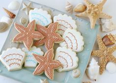 Beach Wedding Cookies - Shells, small square monograms, and some extra detailed starfish