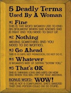 5 deadly terms used by a woman :P