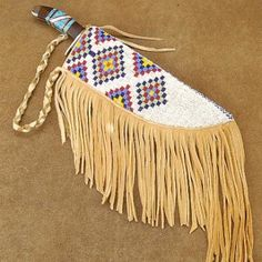 Native American Indian Stack Box-pattern Hand-Made brain-tanned deer hide Knife Sheath by Janice | Alltribes.com
