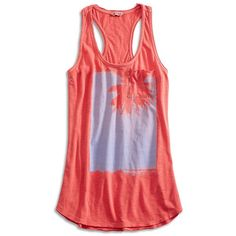 Lucky Brand Palm Tree Tank ($18) ❤ liked on Polyvore featuring tops, long tank, embellished tank tops, red tank top, racer back tank top and graphic tanks