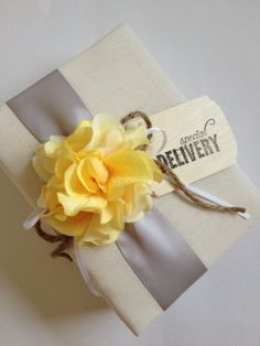 Special Delivery! Beautiful hand Stamped Rustic Baby Photo Album, yellow hydrangeas and gray ribbon - what a great gift for the mama-to-be!