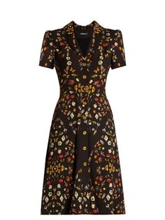 Alexander McQueen Obsession-print button-down crepe dress
